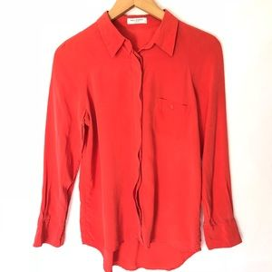 Equipment Femme Coral Button Down Silk Blouse S